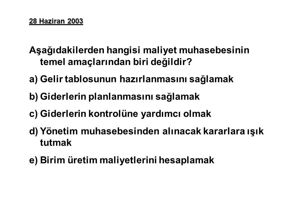 28 Haziran 2003 Aşağıdakilerden hangisi maliyet muhasebesinin temel amaçlarından biri değildir.