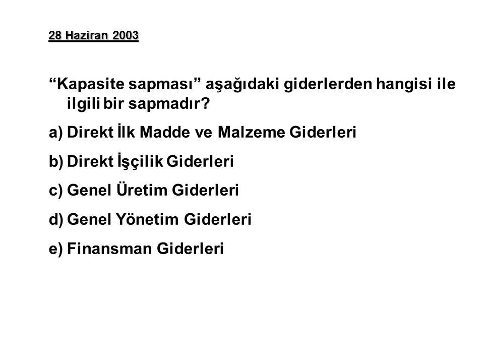28 Haziran 2003 Kapasite sapması aşağıdaki giderlerden hangisi ile ilgili bir sapmadır.