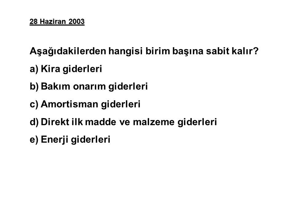 28 Haziran 2003 Aşağıdakilerden hangisi birim başına sabit kalır? a)Kira giderleri b)Bakım onarım giderleri c)Amortisman giderleri d)Direkt ilk madde