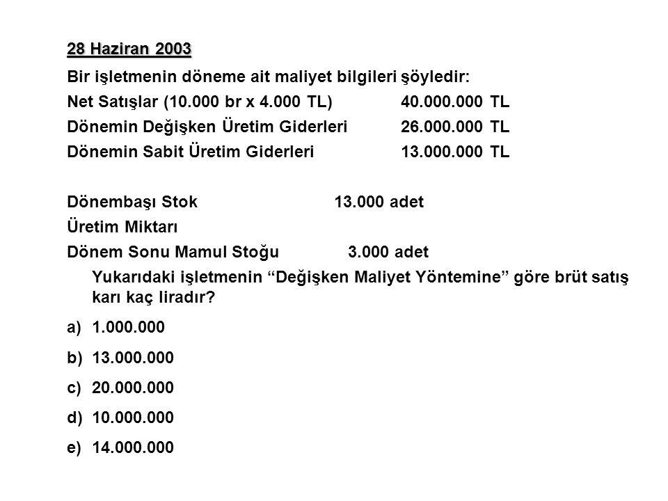 28 Haziran 2003 Bir işletmenin döneme ait maliyet bilgileri şöyledir: Net Satışlar (10.000 br x 4.000 TL)40.000.000 TL Dönemin Değişken Üretim Giderleri26.000.000 TL Dönemin Sabit Üretim Giderleri13.000.000 TL Dönembaşı Stok13.000 adet Üretim Miktarı Dönem Sonu Mamul Stoğu 3.000 adet Yukarıdaki işletmenin Değişken Maliyet Yöntemine göre brüt satış karı kaç liradır.