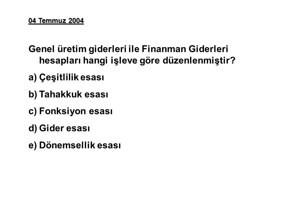 04 Temmuz 2004 Genel üretim giderleri ile Finanman Giderleri hesapları hangi işleve göre düzenlenmiştir? a)Çeşitlilik esası b)Tahakkuk esası c)Fonksiy