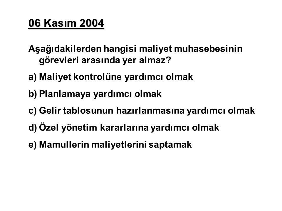 06 Kasım 2004 Aşağıdakilerden hangisi maliyet muhasebesinin görevleri arasında yer almaz.