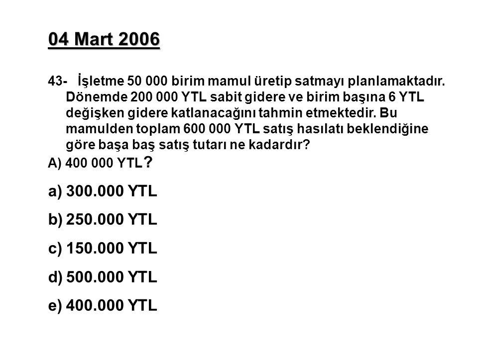 04 Mart 2006 43- İşletme 50 000 birim mamul üretip satmayı planlamaktadır. Dönemde 200 000 YTL sabit gidere ve birim başına 6 YTL değişken gidere katl