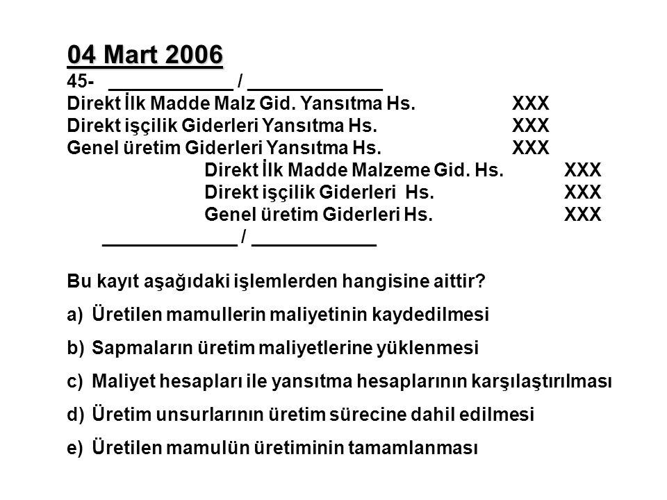 04 Mart 2006 45- ____________ / _____________ Direkt İlk Madde Malz Gid.