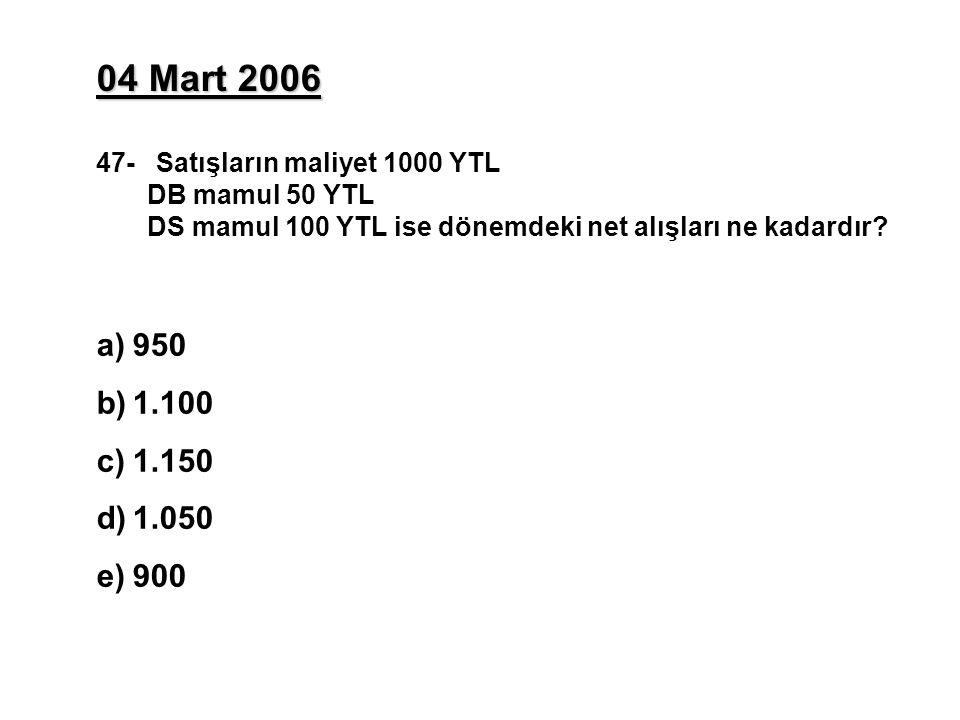 04 Mart 2006 47- Satışların maliyet 1000 YTL DB mamul 50 YTL DS mamul 100 YTL ise dönemdeki net alışları ne kadardır? a)950 b)1.100 c)1.150 d)1.050 e)