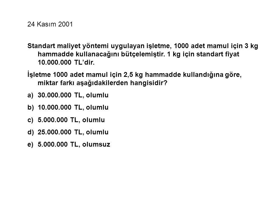 24 Kasım 2001 Standart maliyet yöntemi uygulayan işletme, 1000 adet mamul için 3 kg hammadde kullanacağını bütçelemiştir.