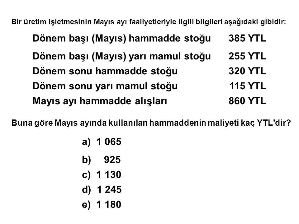 Bir üretim işletmesinin Mayıs ayı faaliyetleriyle ilgili bilgileri aşağıdaki gibidir: Dönem başı (Mayıs) hammadde stoğu385 YTL Dönem başı (Mayıs) yarı mamul stoğu255 YTL Dönem sonu hammadde stoğu320 YTL Dönem sonu yarı mamul stoğu115 YTL Mayıs ayı hammadde alışları860 YTL Buna göre Mayıs ayında kullanılan hammaddenin maliyeti kaç YTL dir.
