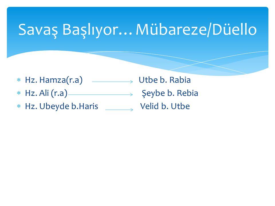  Hz. Hamza(r.a) Utbe b. Rabia  Hz. Ali (r.a) Şeybe b. Rebia  Hz. Ubeyde b.Haris Velid b. Utbe Savaş Başlıyor…Mübareze/Düello