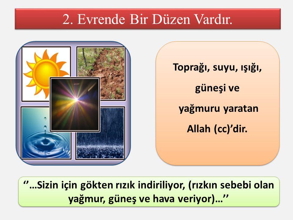 2. Evrende Bir Düzen Vardır. Toprağı, suyu, ışığı, güneşi ve yağmuru yaratan Allah (cc)'dir. Toprağı, suyu, ışığı, güneşi ve yağmuru yaratan Allah (cc