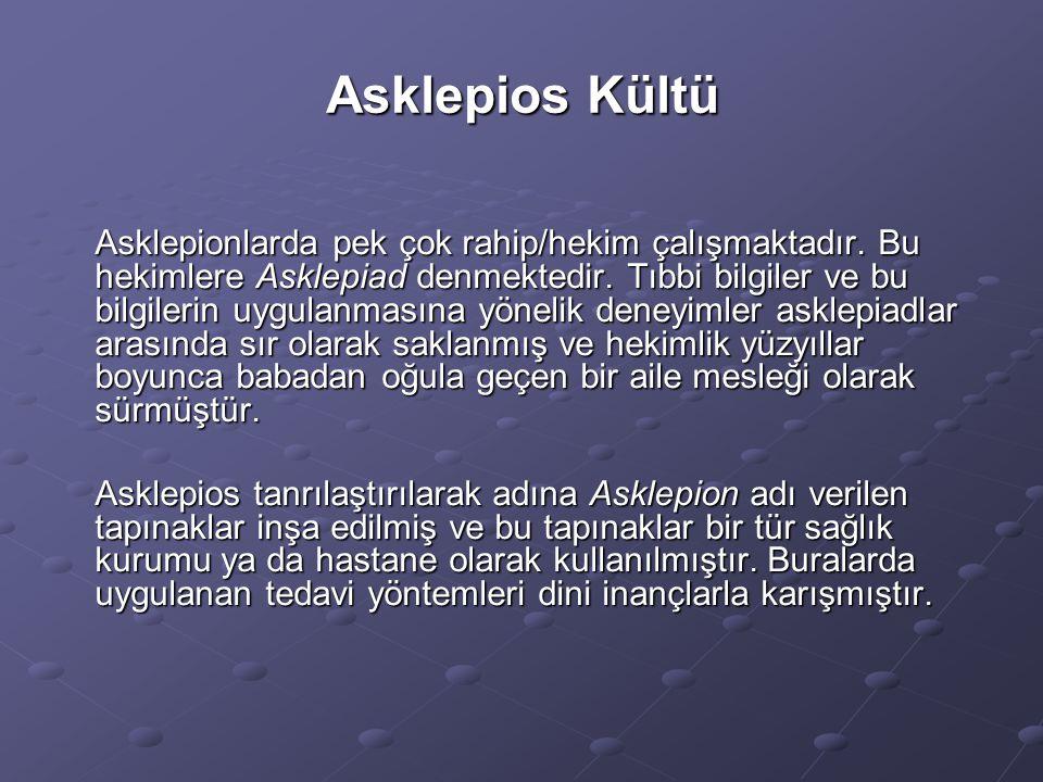 Asklepios Kültü Asklepionlarda pek çok rahip/hekim çalışmaktadır. Bu hekimlere Asklepiad denmektedir. Tıbbi bilgiler ve bu bilgilerin uygulanmasına yö