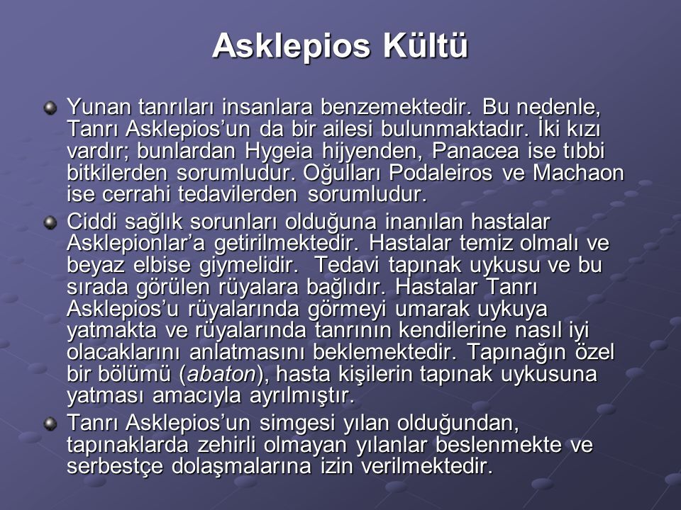 Asklepios Kültü Yunan tanrıları insanlara benzemektedir. Bu nedenle, Tanrı Asklepios'un da bir ailesi bulunmaktadır. İki kızı vardır; bunlardan Hygeia