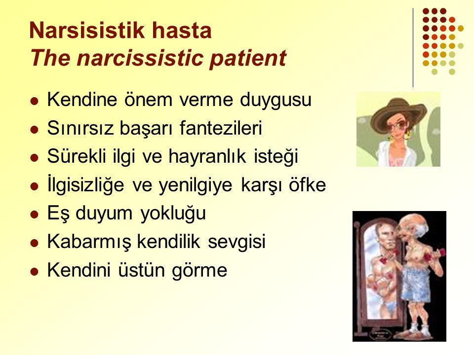 Narsisistik hasta The narcissistic patient Kendine önem verme duygusu Sınırsız başarı fantezileri Sürekli ilgi ve hayranlık isteği İlgisizliğe ve yenilgiye karşı öfke Eş duyum yokluğu Kabarmış kendilik sevgisi Kendini üstün görme