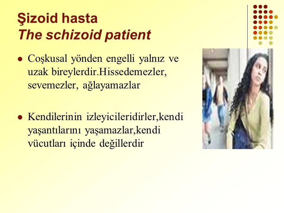 Şizoid hasta The schizoid patient Coşkusal yönden engelli yalnız ve uzak bireylerdir.Hissedemezler, sevemezler, ağlayamazlar Kendilerinin izleyicileridirler,kendi yaşantılarını yaşamazlar,kendi vücutları içinde değillerdir