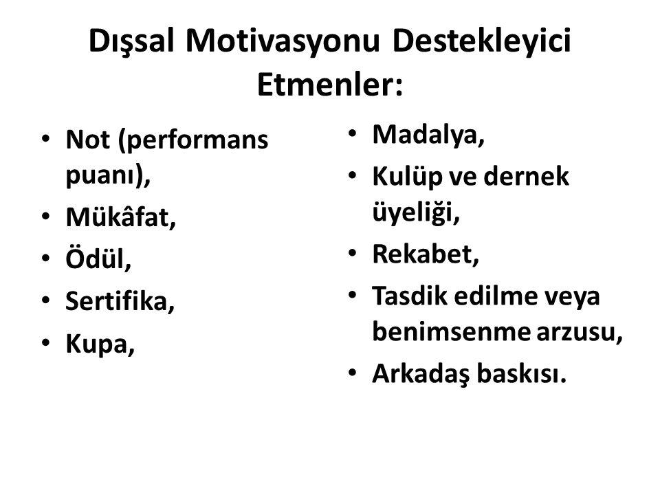 Dışsal Motivasyonu Destekleyici Etmenler: Not (performans puanı), Mükâfat, Ödül, Sertifika, Kupa, Madalya, Kulüp ve dernek üyeliği, Rekabet, Tasdik ed