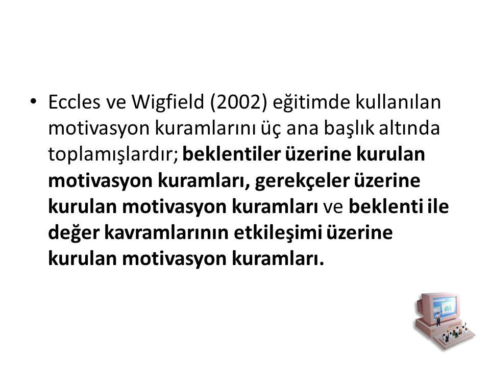 Eccles ve Wigfield (2002) eğitimde kullanılan motivasyon kuramlarını üç ana başlık altında toplamışlardır; beklentiler üzerine kurulan motivasyon kura