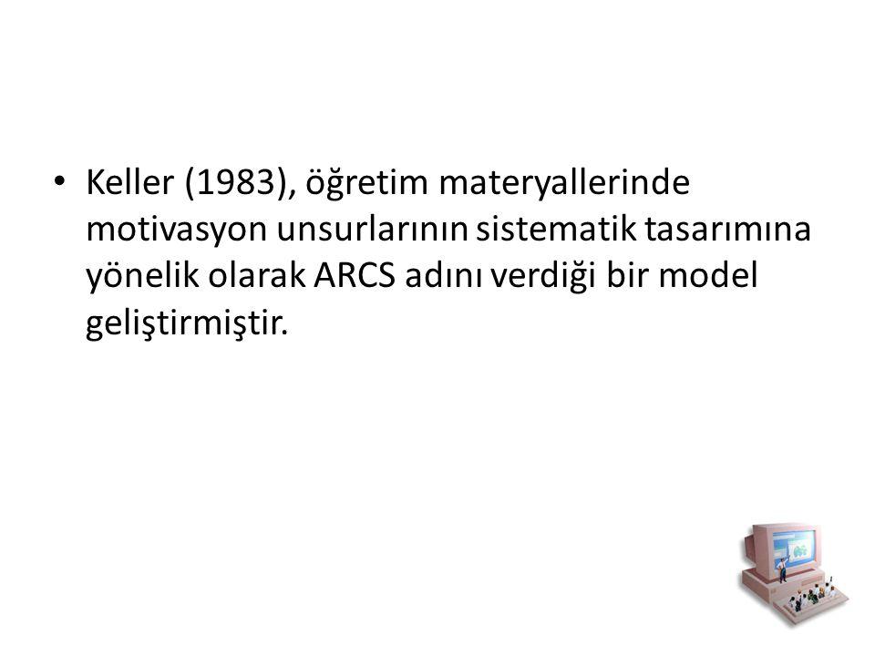 Keller (1983), öğretim materyallerinde motivasyon unsurlarının sistematik tasarımına yönelik olarak ARCS adını verdiği bir model geliştirmiştir.