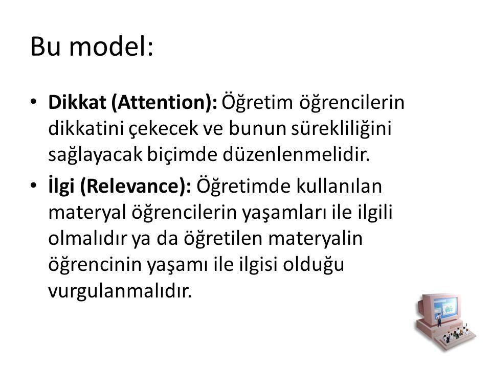 Bu model: Dikkat (Attention): Öğretim öğrencilerin dikkatini çekecek ve bunun sürekliliğini sağlayacak biçimde düzenlenmelidir. İlgi (Relevance): Öğre