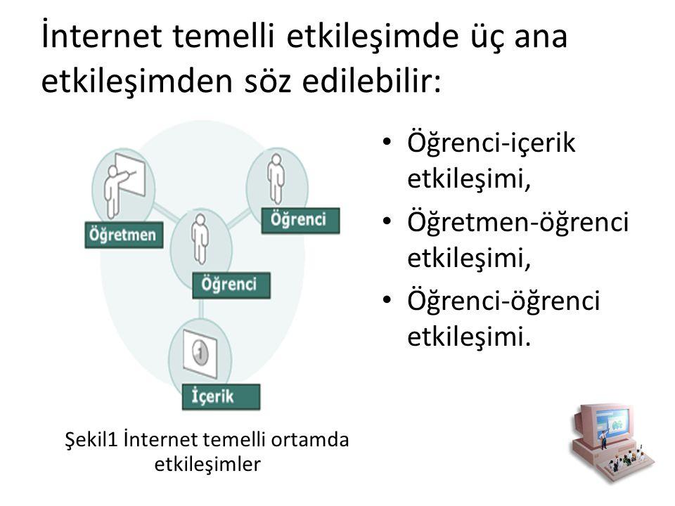 İnternet temelli etkileşimde üç ana etkileşimden söz edilebilir: Öğrenci-içerik etkileşimi, Öğretmen-öğrenci etkileşimi, Öğrenci-öğrenci etkileşimi. Ş