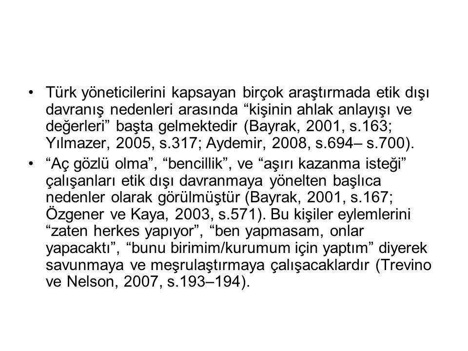"""Türk yöneticilerini kapsayan birçok araştırmada etik dışı davranış nedenleri arasında """"kişinin ahlak anlayışı ve değerleri"""" başta gelmektedir (Bayrak,"""