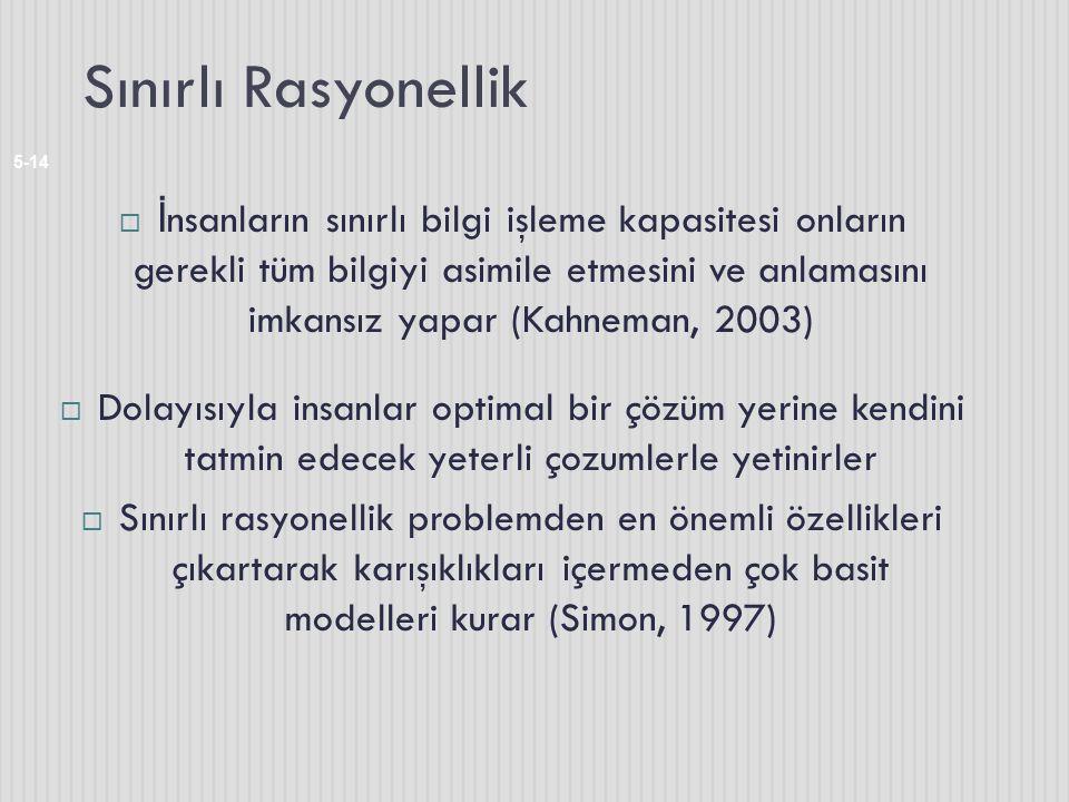Sınırlı Rasyonellik 5-14  İ nsanların sınırlı bilgi işleme kapasitesi onların gerekli tüm bilgiyi asimile etmesini ve anlamasını imkansız yapar (Kahneman, 2003)  Dolayısıyla insanlar optimal bir çözüm yerine kendini tatmin edecek yeterli çozumlerle yetinirler  Sınırlı rasyonellik problemden en önemli özellikleri çıkartarak karışıklıkları içermeden çok basit modelleri kurar (Simon, 1997)