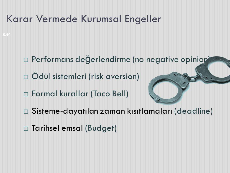 Karar Vermede Kurumsal Engeller 5-19  Performans de ğ erlendirme (no negative opinion)  Ödül sistemleri (risk aversion)  Formal kurallar (Taco Bell