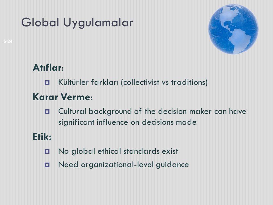 Global Uygulamalar 5-24 Atıflar:  Kültürler farkları (collectivist vs traditions) Karar Verme:  Cultural background of the decision maker can have s