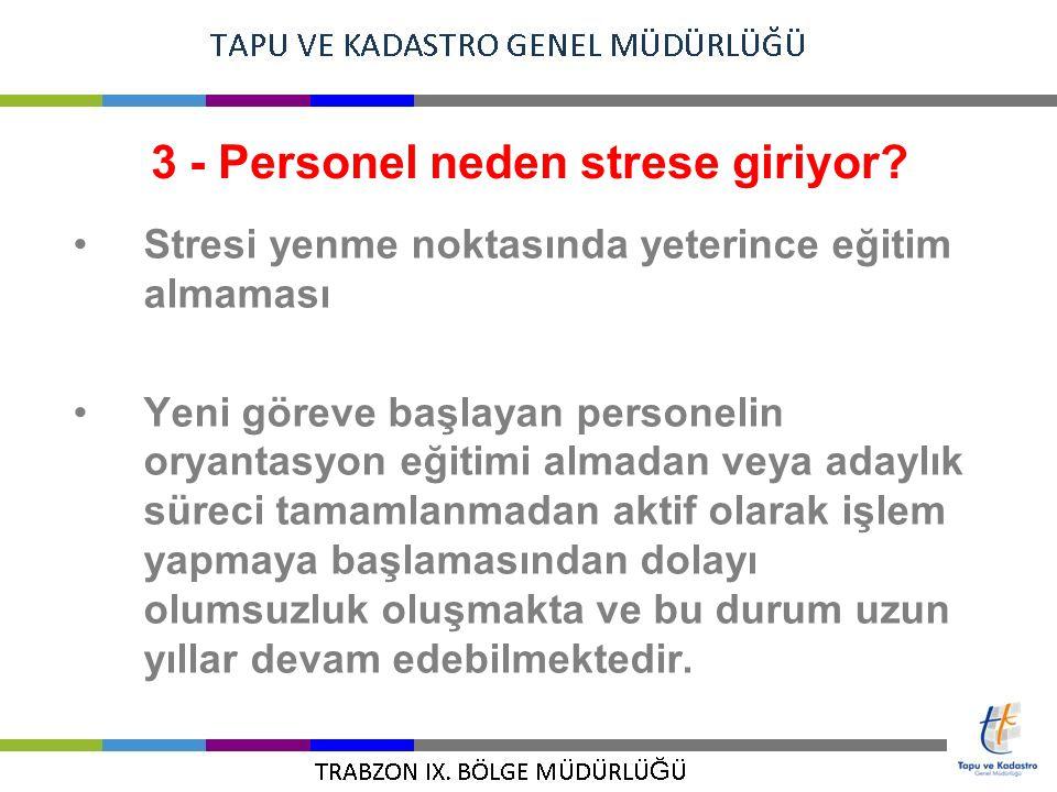 3 - Personel neden strese giriyor? Stresi yenme noktasında yeterince eğitim almaması Yeni göreve başlayan personelin oryantasyon eğitimi almadan veya