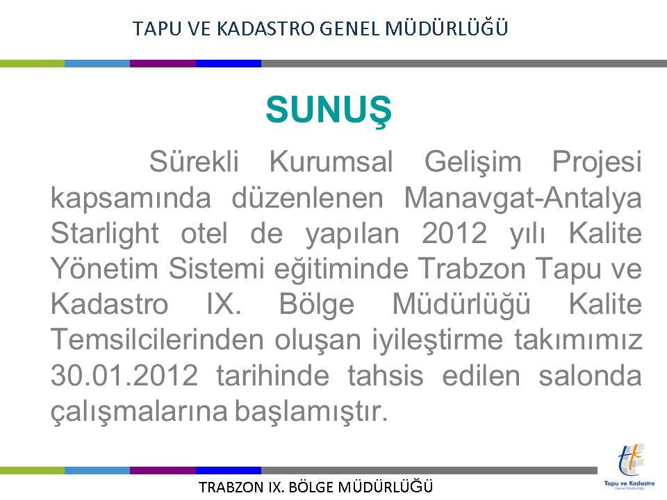 SUNUŞ Sürekli Kurumsal Gelişim Projesi kapsamında düzenlenen Manavgat-Antalya Starlight otel de yapılan 2012 yılı Kalite Yönetim Sistemi eğitiminde Trabzon Tapu ve Kadastro IX.