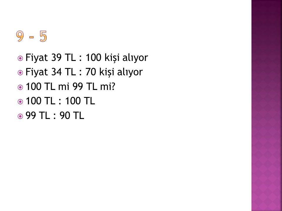 Fiyat 39 TL : 100 kişi alıyor  Fiyat 34 TL : 70 kişi alıyor  100 TL mi 99 TL mi.