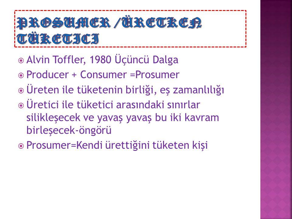  Alvin Toffler, 1980 Üçüncü Dalga  Producer + Consumer =Prosumer  Üreten ile tüketenin birliği, eş zamanlılığı  Üretici ile tüketici arasındaki sı