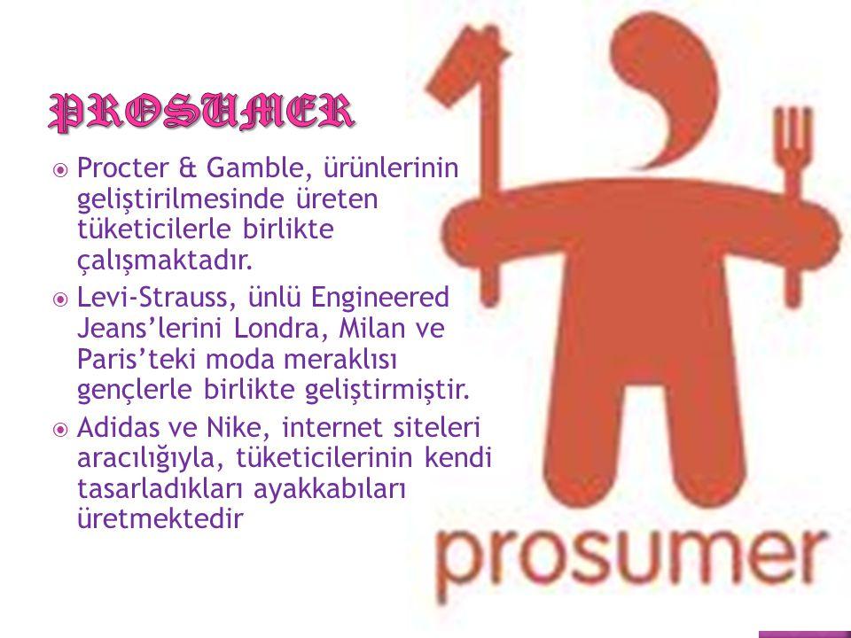  Procter & Gamble, ürünlerinin geliştirilmesinde üreten tüketicilerle birlikte çalışmaktadır.  Levi-Strauss, ünlü Engineered Jeans'lerini Londra, Mi