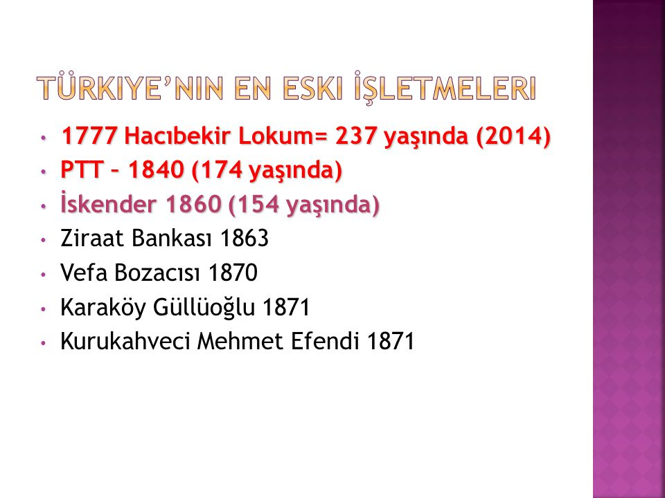 1777 Hacıbekir Lokum= 237 yaşında (2014) 1777 Hacıbekir Lokum= 237 yaşında (2014) PTT – 1840 (174 yaşında) PTT – 1840 (174 yaşında) İskender 1860 (154