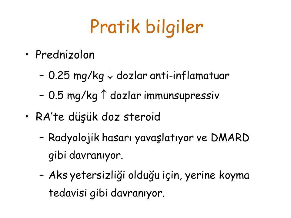 Prednizolon –0.25 mg/kg  dozlar anti-inflamatuar –0.5 mg/kg  dozlar immunsupressiv RA'te düşük doz steroid –Radyolojik hasarı yavaşlatıyor ve DMARD gibi davranıyor.