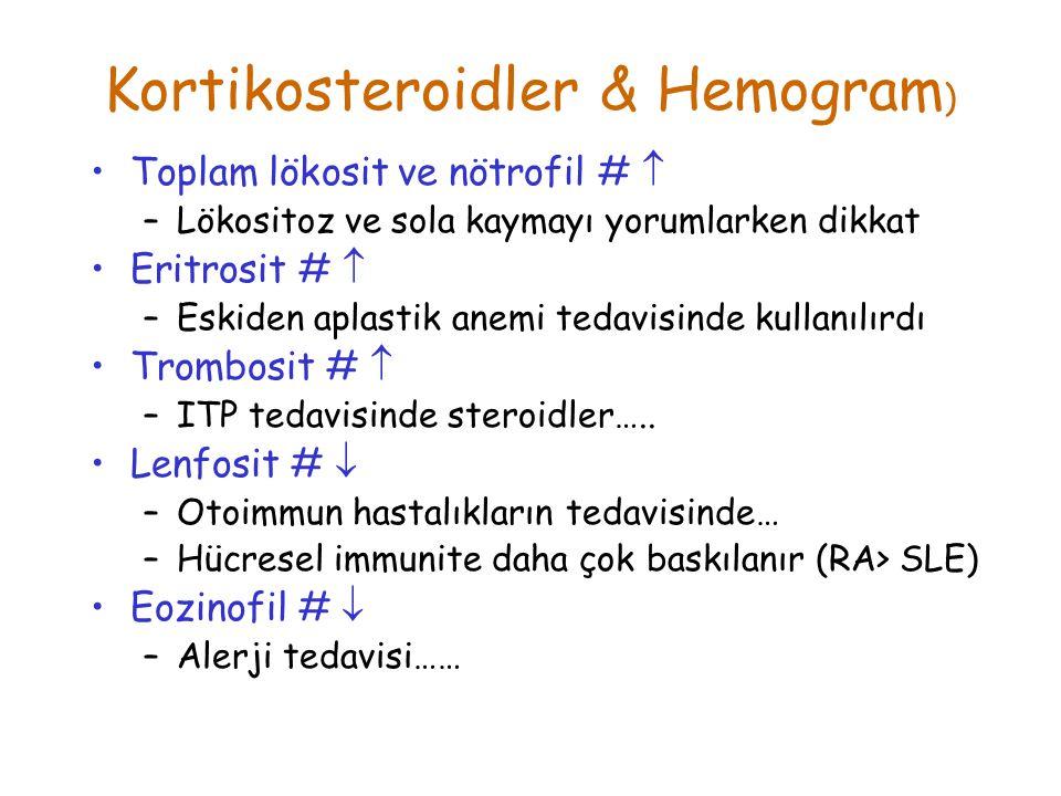 Kortikosteroidler & Hemogram ) Toplam lökosit ve nötrofil #  –Lökositoz ve sola kaymayı yorumlarken dikkat Eritrosit #  –Eskiden aplastik anemi teda