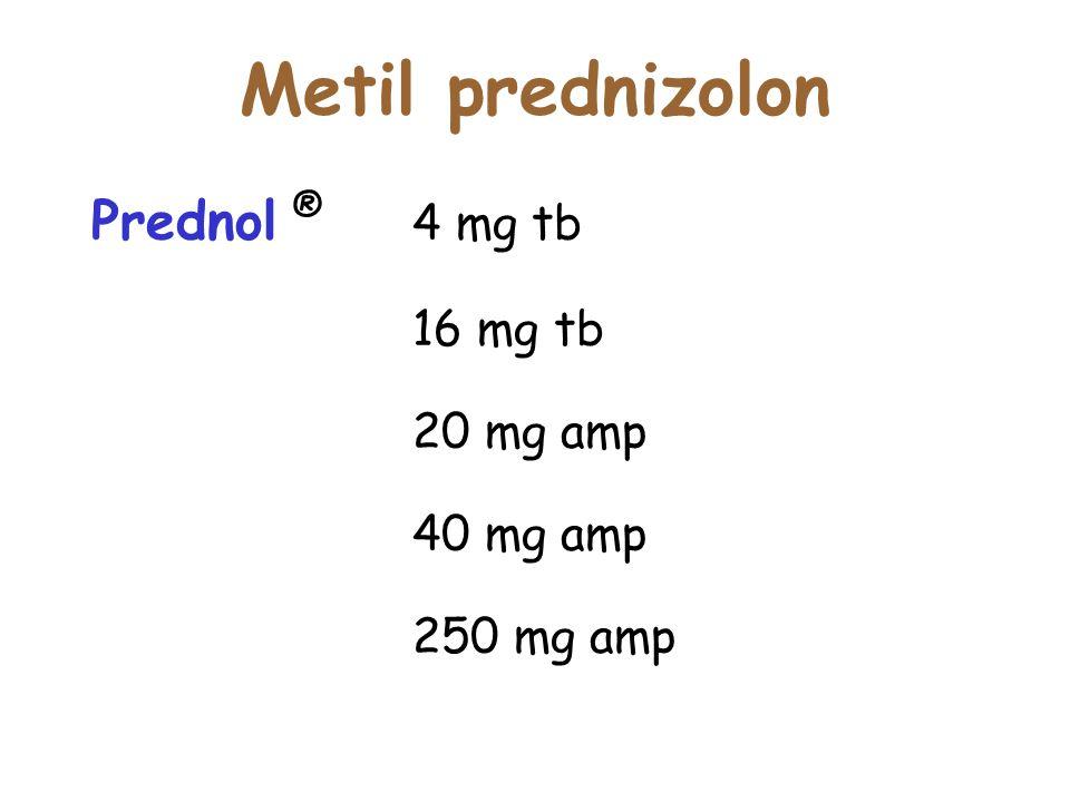 Metil prednizolon Prednol ® 4 mg tb 16 mg tb 20 mg amp 40 mg amp 250 mg amp