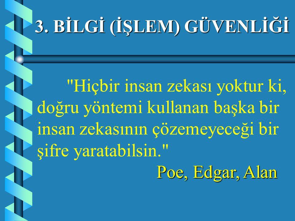 Hiçbir insan zekası yoktur ki, doğru yöntemi kullanan başka bir insan zekasının çözemeyeceği bir şifre yaratabilsin. Poe, Edgar, Alan 3.