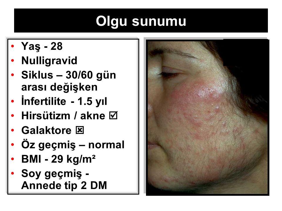4 4 [Cushing, akromegali, PRL , tiroid disf., iatrojenik (T, danazol, OCP, glükokort.)] Klinik / Biyokimyasal Hiperandrojenizm s/tT  /hirsütizm, sebore, ± akne, alopezi PCOS (%65-86) /idiopatik (%15) / HAIR-AN (%1-5) / CAH (%1-8) / tümör (%0.2)  sT  (tT≈N )– over  A- adrenal & over  T  DHEA(S)–adrenal  A  T  5αredüktazaktivitesi  T  DHT  3α/βAdiolG o Sekresyon, metabolizma,klerens, periferikdönüşüm, SHBG