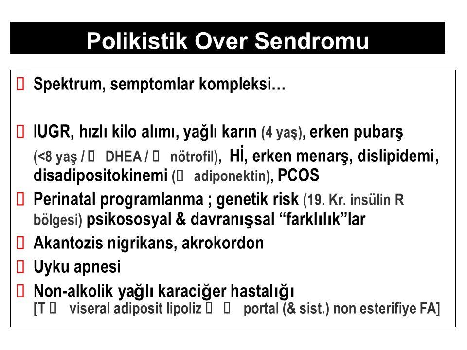Androjenler  Klasik PCOS >>>  Ovülatuar PCOS >  idiopatik HA tT vs.