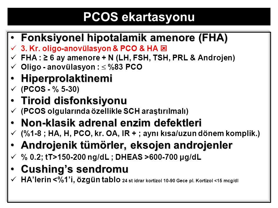   WHO-II içinde PCOS tanısı %55  %91  Rott.PCOS - obesite, hiperglisemi & İR sıklığı  metabolik açıdan dilüe..