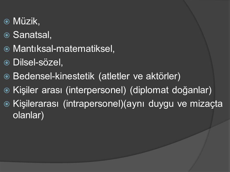  Müzik,  Sanatsal,  Mantıksal-matematiksel,  Dilsel-sözel,  Bedensel-kinestetik (atletler ve aktörler)  Kişiler arası (interpersonel) (diplomat