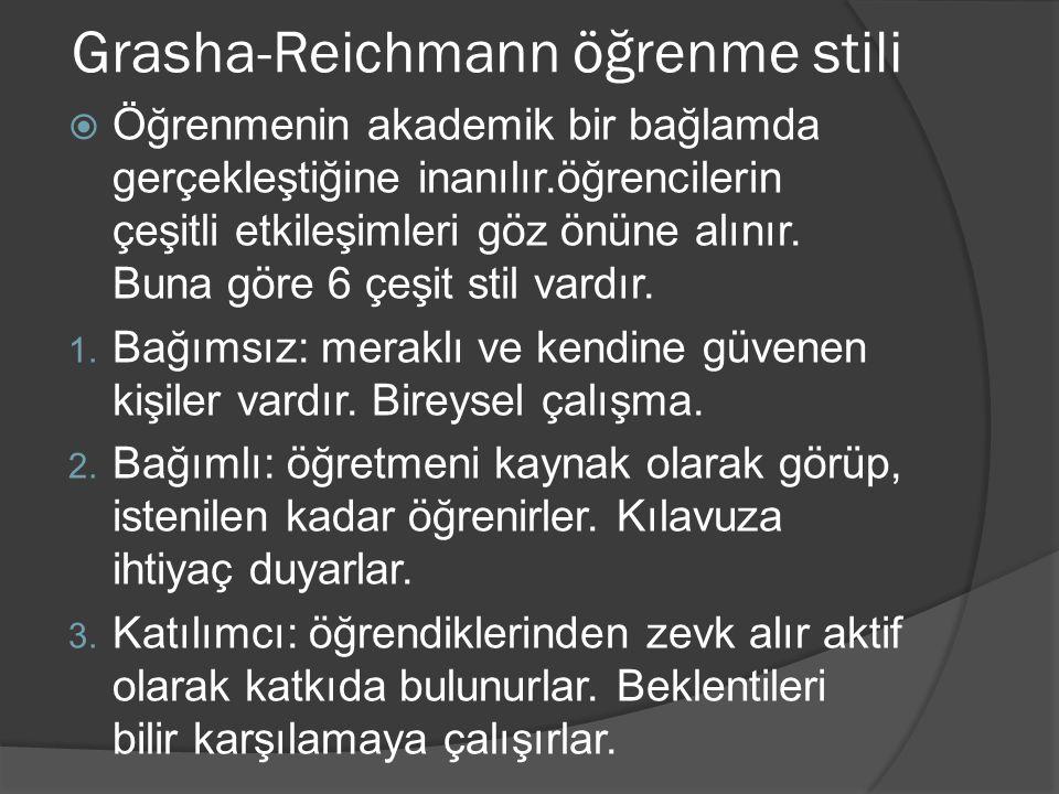 Grasha-Reichmann öğrenme stili  Öğrenmenin akademik bir bağlamda gerçekleştiğine inanılır.öğrencilerin çeşitli etkileşimleri göz önüne alınır. Buna g