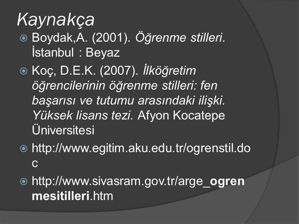Kaynakça  Boydak,A. (2001). Öğrenme stilleri. İstanbul : Beyaz  Koç, D.E.K. (2007). İlköğretim öğrencilerinin öğrenme stilleri: fen başarısı ve tutu