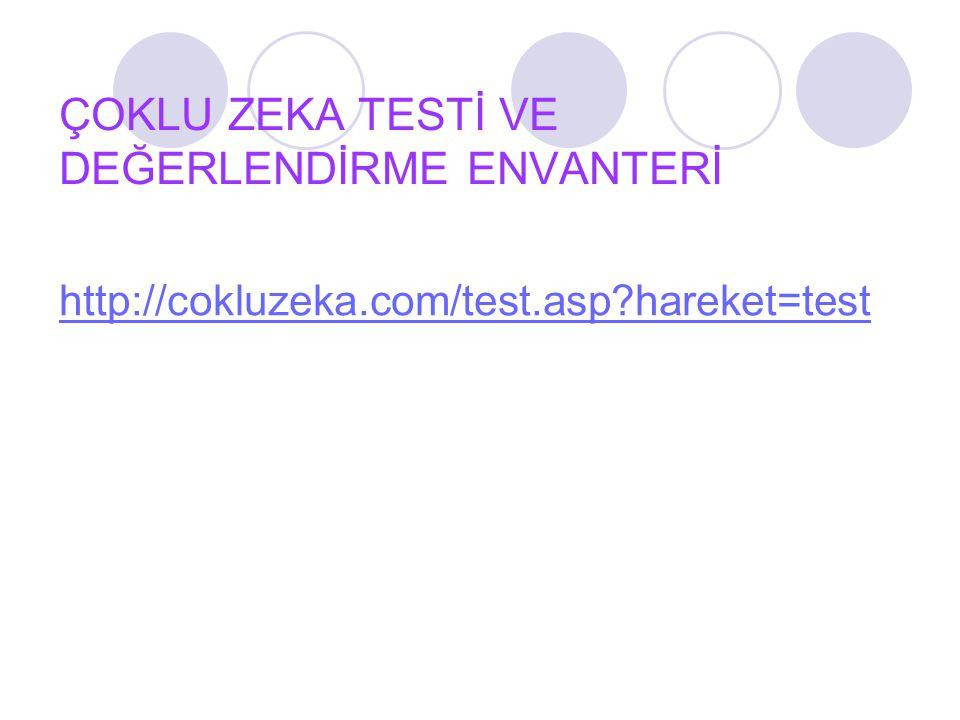 ÇOKLU ZEKA TESTİ VE DEĞERLENDİRME ENVANTERİ http://cokluzeka.com/test.asp?hareket=test