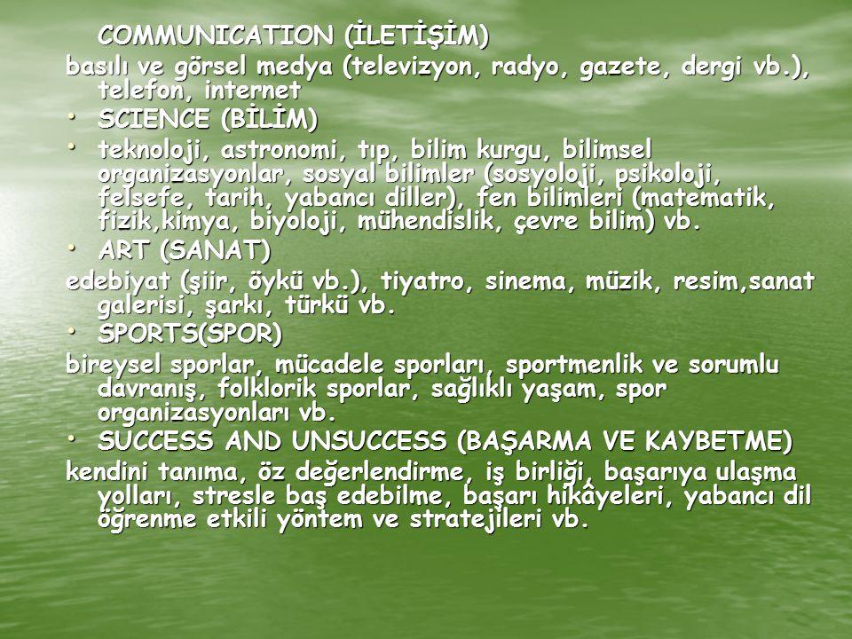 COMMUNICATION (İLETİŞİM) basılı ve görsel medya (televizyon, radyo, gazete, dergi vb.), telefon, internet SCIENCE (BİLİM) SCIENCE (BİLİM) teknoloji, a