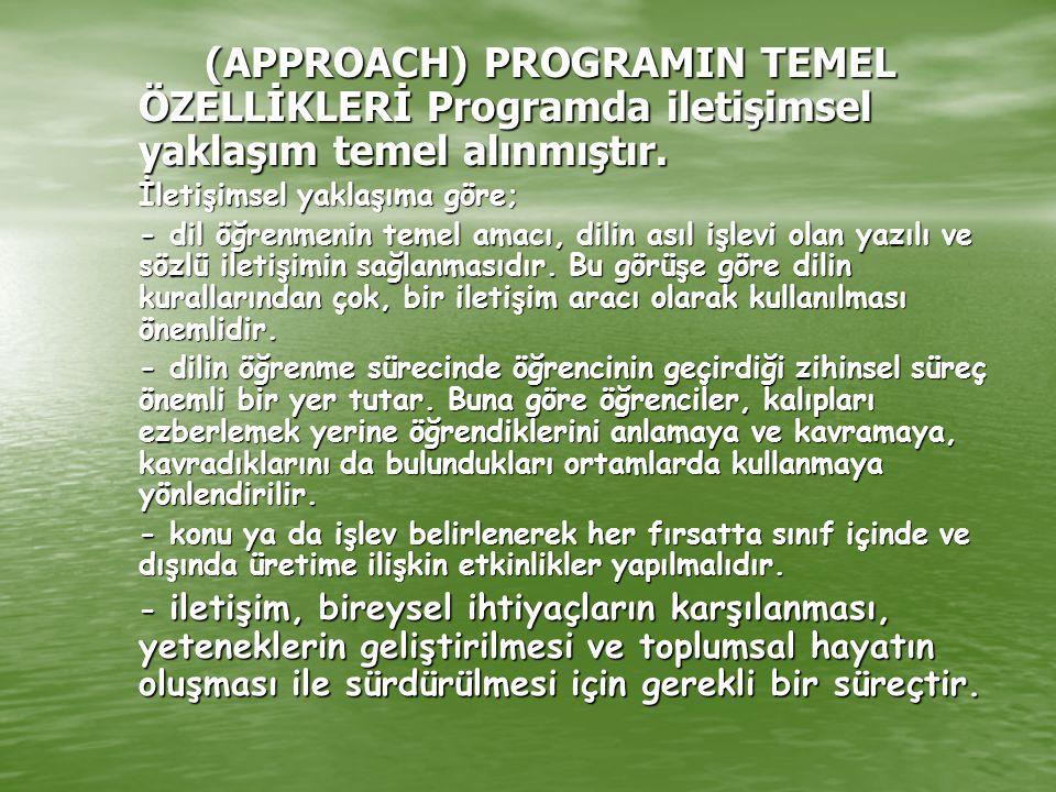 (APPROACH) PROGRAMIN TEMEL ÖZELLİKLERİ Programda iletişimsel yaklaşım temel alınmıştır. İletişimsel yaklaşıma göre; - dil öğrenmenin temel amacı, dili
