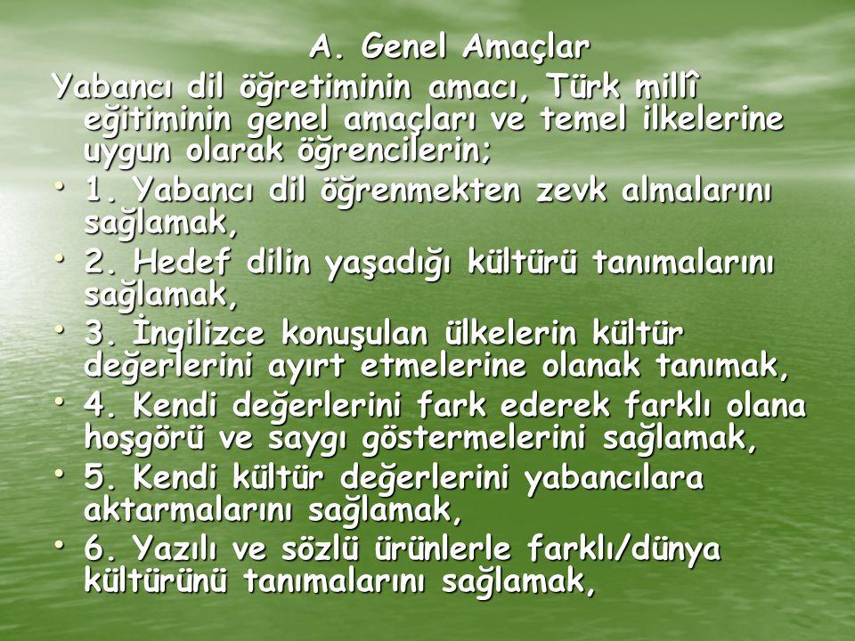 A. Genel Amaçlar Yabancı dil öğretiminin amacı, Türk millî eğitiminin genel amaçları ve temel ilkelerine uygun olarak öğrencilerin; 1. Yabancı dil öğr