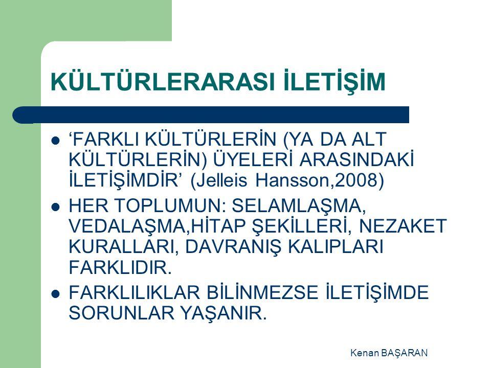 Kenan BAŞARAN KÜLTÜRLERARASI İLETİŞİM 'FARKLI KÜLTÜRLERİN (YA DA ALT KÜLTÜRLERİN) ÜYELERİ ARASINDAKİ İLETİŞİMDİR' (Jelleis Hansson,2008) HER TOPLUMUN: