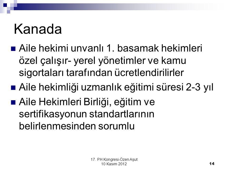 17. PH Kongresi-Özen Aşut 10 Kasım 2012 14 Kanada Aile hekimi unvanlı 1. basamak hekimleri özel çalışır- yerel yönetimler ve kamu sigortaları tarafınd