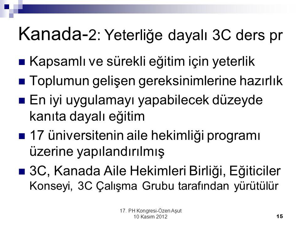 17. PH Kongresi-Özen Aşut 10 Kasım 2012 15 Kanada- 2: Yeterliğe dayalı 3C ders pr Kapsamlı ve sürekli eğitim için yeterlik Toplumun gelişen gereksinim