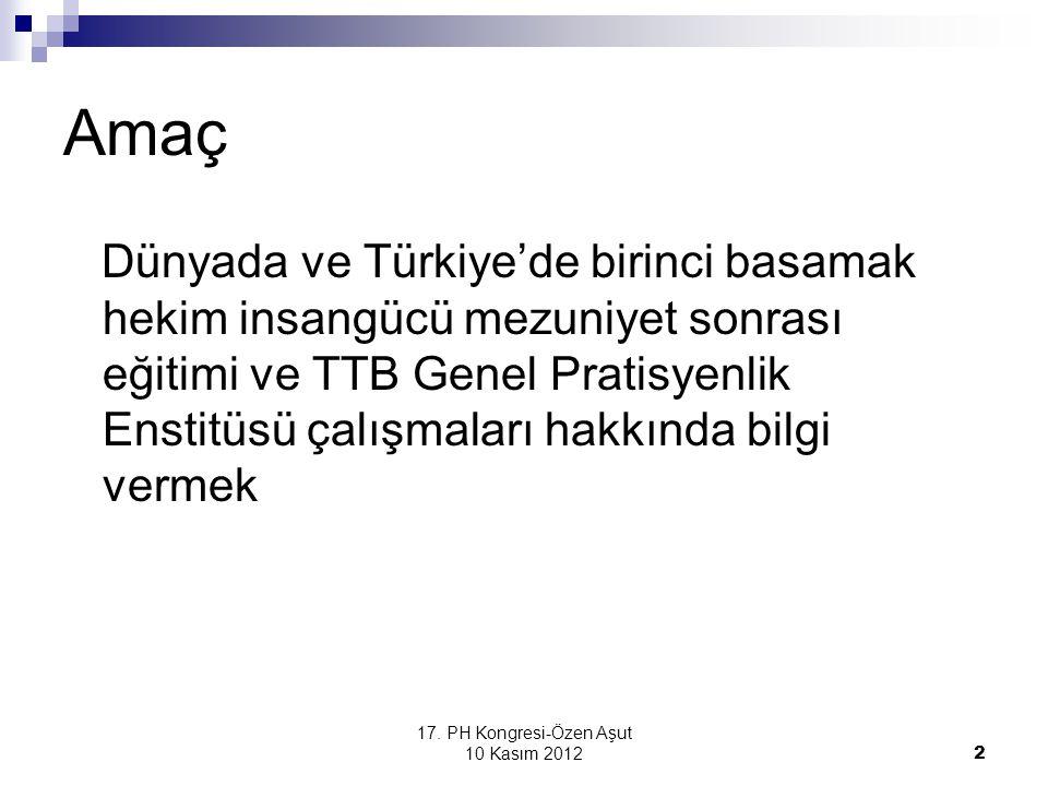 17. PH Kongresi-Özen Aşut 10 Kasım 2012 2 Amaç Dünyada ve Türkiye'de birinci basamak hekim insangücü mezuniyet sonrası eğitimi ve TTB Genel Pratisyenl